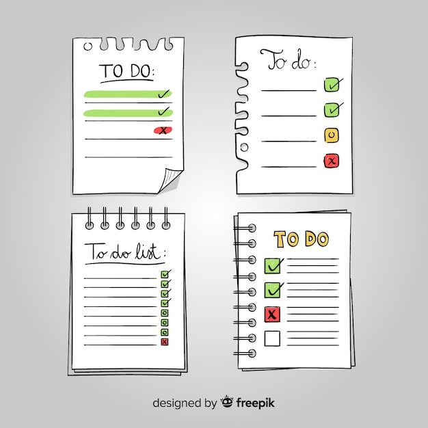 Reizende hand gezeichnete liste, zum der sammlung zu tun Kostenlosen Vektoren