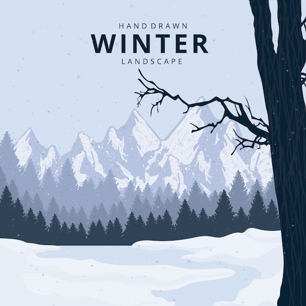 Reizende hand gezeichnete winterlandschaft Kostenlosen Vektoren