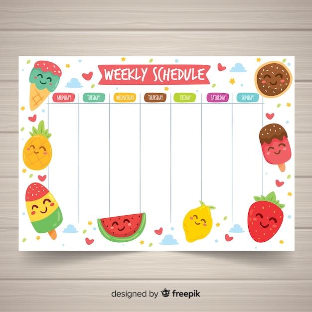 Reizende hand gezeichnete wöchentliche zeitplanschablone Kostenlosen Vektoren