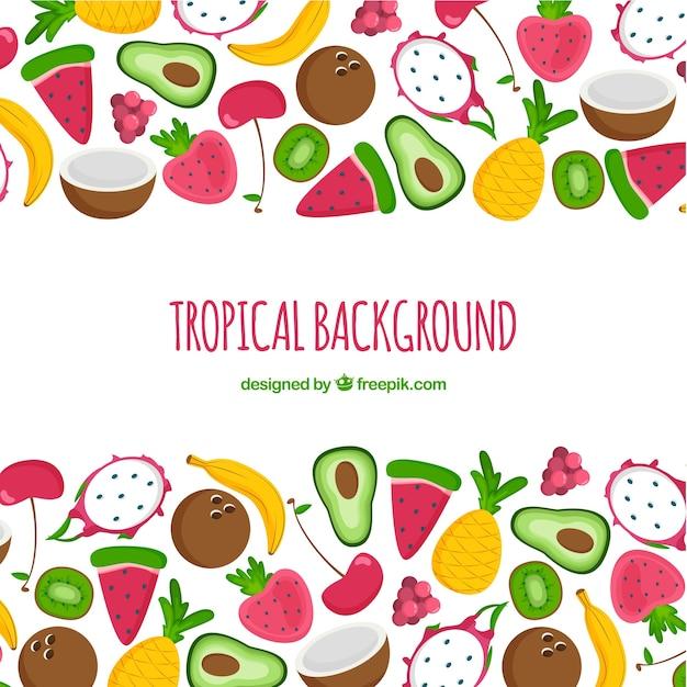 Reizende hand gezeichneter tropischer hintergrund Kostenlosen Vektoren
