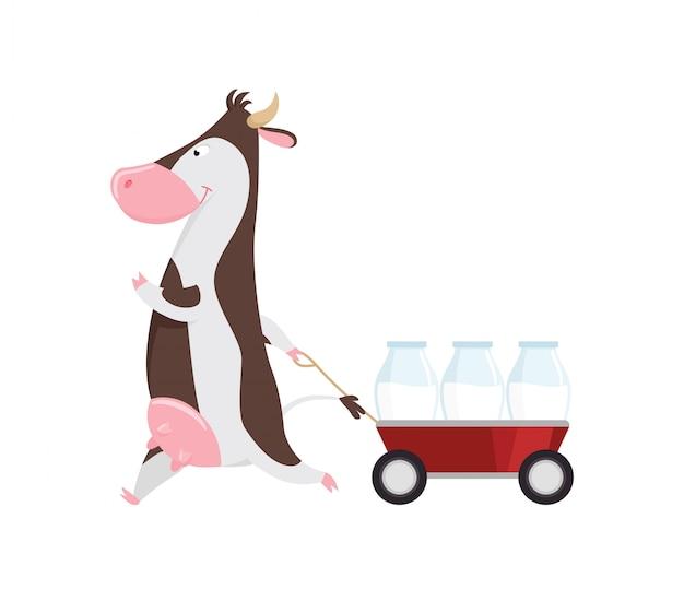Reizende kuh, die warenkorb mit glasflaschen milch, lustige viehzeichentrickfilm-figur zieht Premium Vektoren