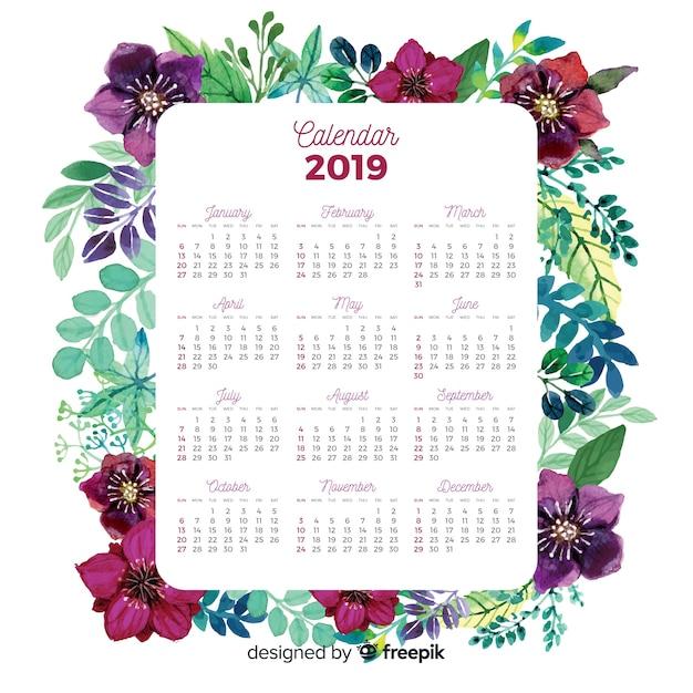 Reizender aquarellkalender mit blumenart Kostenlosen Vektoren