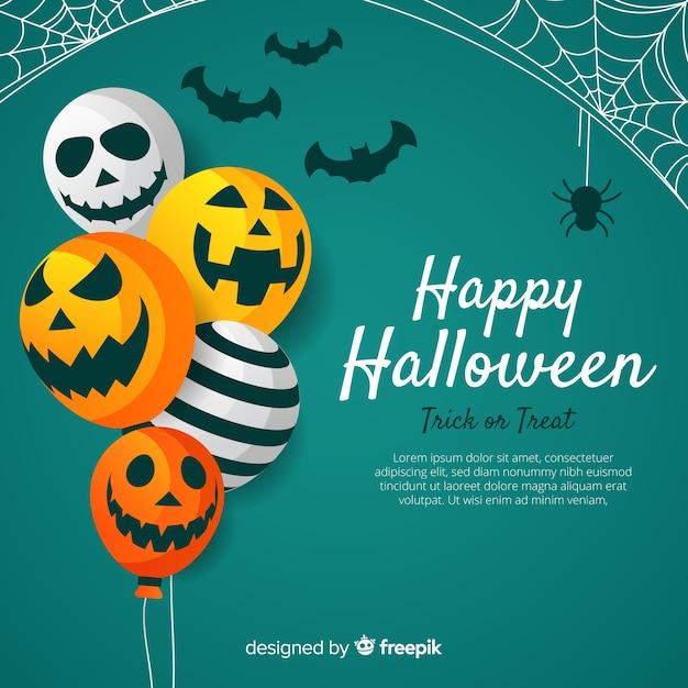 Reizender halloween-hintergrund mit flachem design Kostenlosen Vektoren