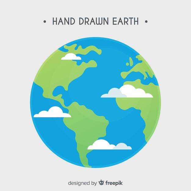 Reizender planetenerde mit hand gezeichneter art Kostenlosen Vektoren