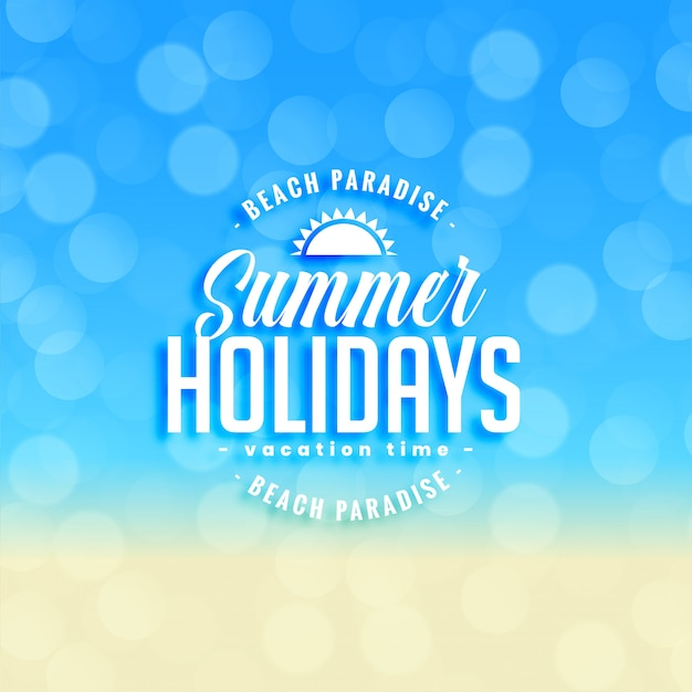Reizender sommerferienhintergrund mit bokeh effekt Kostenlosen Vektoren