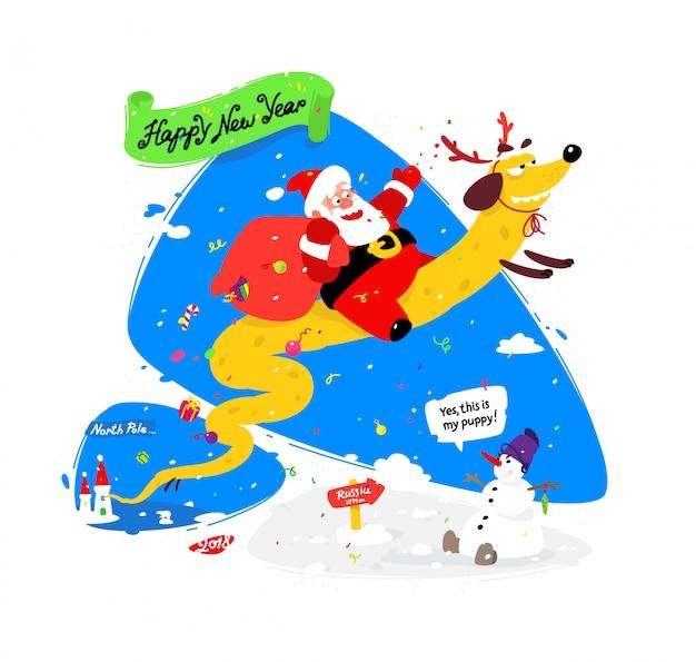 Reizender weihnachtsmann auf einem gelben hund. chinesisches neujahr und weihnachten Premium Vektoren
