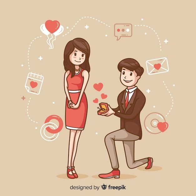 Reizendes hand gezeichnetes heiratsantragkonzept Kostenlosen Vektoren