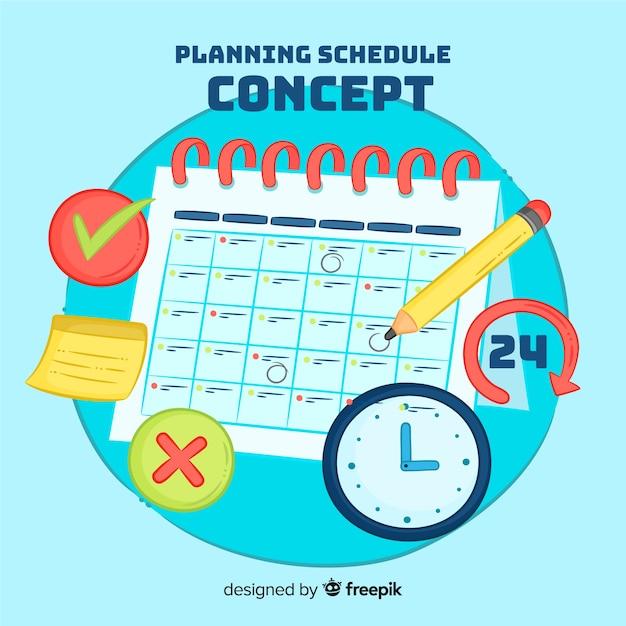 Reizendes hand gezeichnetes planungszeitplankonzept Kostenlosen Vektoren