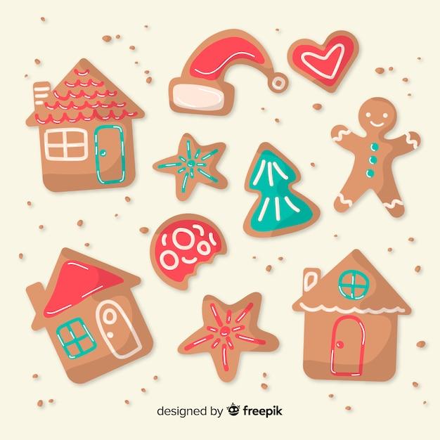 Reizendes set weihnachtsingwerplätzchen Kostenlosen Vektoren