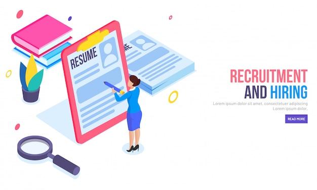 Rekrutierung oder hiring-konzept basierte landing-page. Premium Vektoren