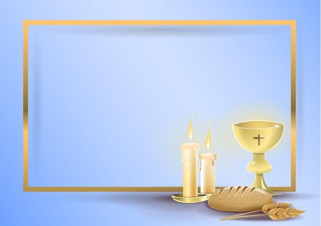 Religiöse einladungskarte der ersten kommunion Premium Vektoren