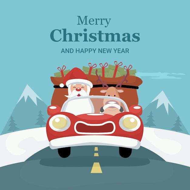 Ren-weihnachtskarte, die auto mit santa claus fährt Premium Vektoren