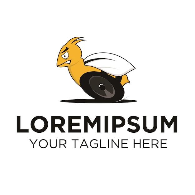 Rennbiene mit rädern logo vorlage Premium Vektoren