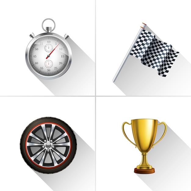 Rennsport Icons Set Kostenlose Vektoren