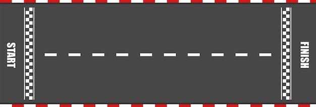 Rennstrecke mit start- und ziellinie für auto. karrenrennen auf der asphaltstraße. vorlage des schnellen speedway. auto- und motosportkonzept. draufsicht. Premium Vektoren