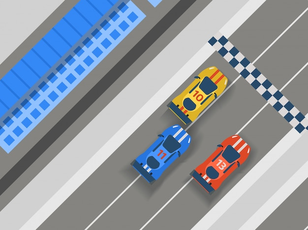 Rennstreckenstraße, autosportillustration. draufsichterbauer der transportfahrbahnbahngestaltungselemente für fahrzeug. Premium Vektoren