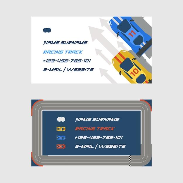 Rennstreckenstraßenautosportbahnsatz visitenkarten transportfahrbahnbahn Premium Vektoren