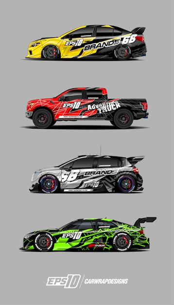 Rennwagen-aufkleber-set-designs Premium Vektoren