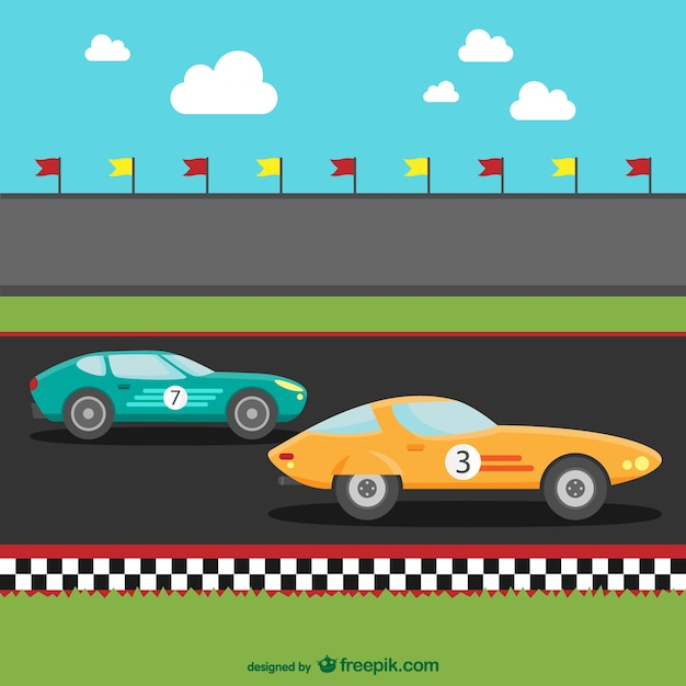 Rennwagen-cartoon Kostenlosen Vektoren