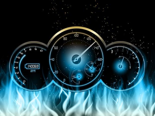 Rennwagen geschwindigkeitsmesserdesign mit im feuer auf blauer flamme Premium Vektoren