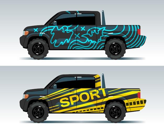 Rennwagen grafik. lkw, der hintergrund einwickelt. fahrzeugmarke Premium Vektoren