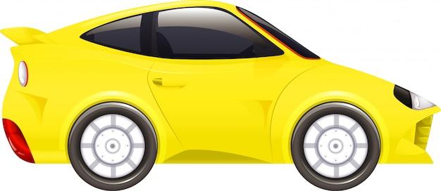 Rennwagen in gelb auf weiß Kostenlosen Vektoren