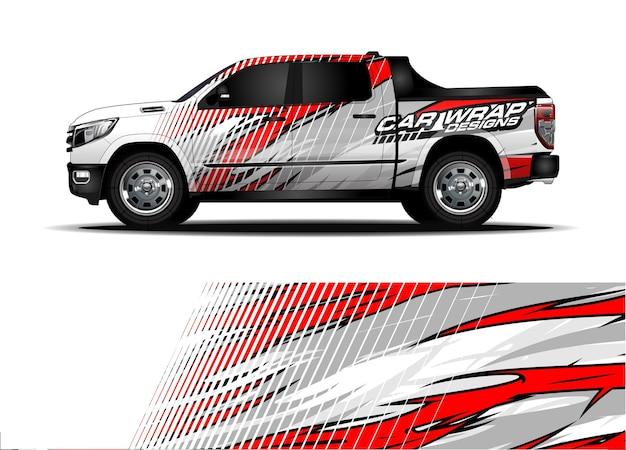 Rennwagen-wrap-design. fahrzeug-vinyl-aufkleber und autolack-lackierung Premium Vektoren