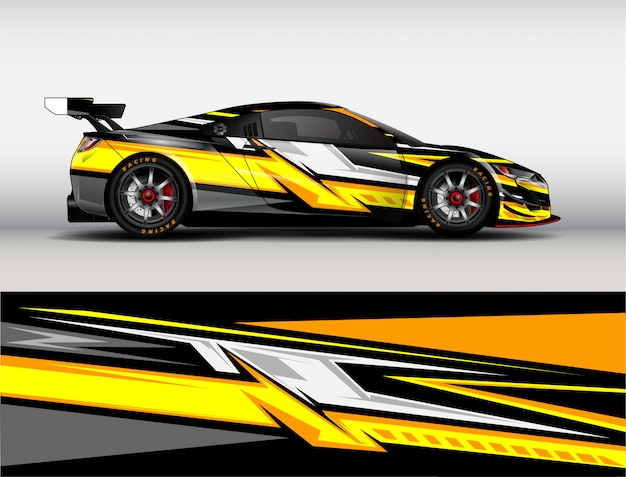 Rennwagen wrap design vektor Premium Vektoren