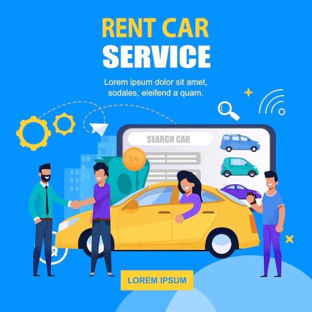 Rent car service platz banner mobile app-lösung Premium Vektoren