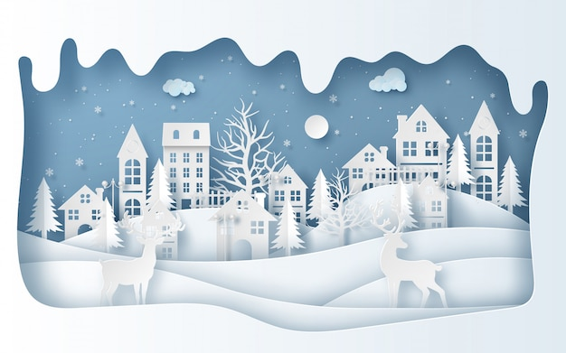 Rentiere im dorf in der wintersaison Premium Vektoren