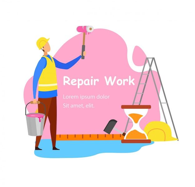 Reparatur-arbeits-anzeigen-vektor-konzept Premium Vektoren