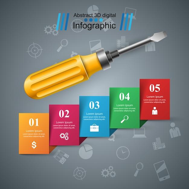 Reparatur-symbol business-infografik Premium Vektoren