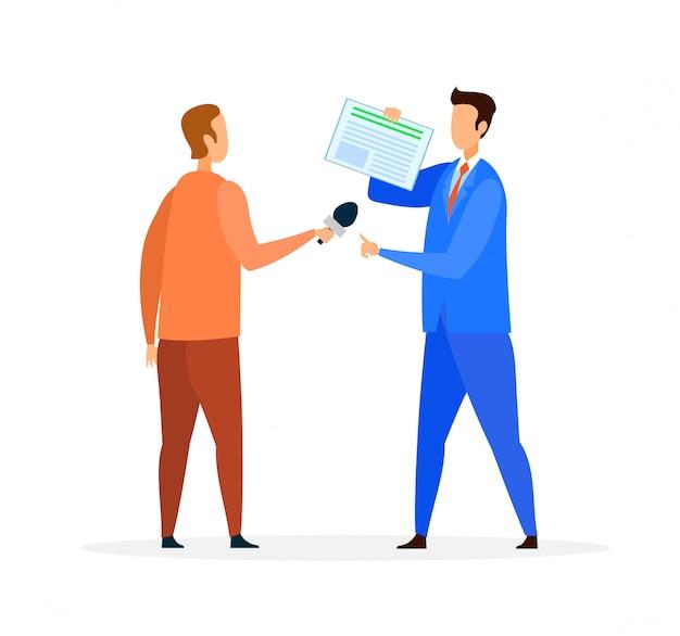Reportage, interview-flache vektor-illustration Premium Vektoren