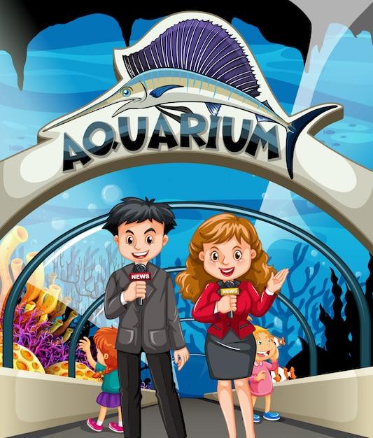 Reporter, die geschichte im aquarium machen Premium Vektoren