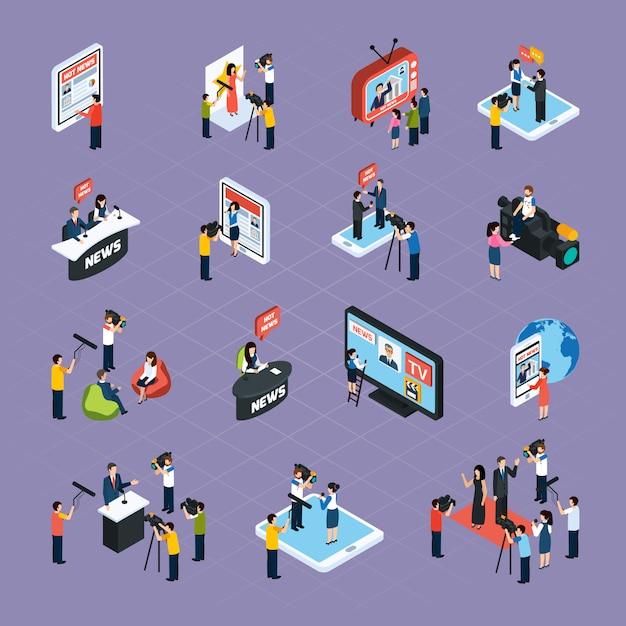 Reporter isometrische icons set Kostenlosen Vektoren