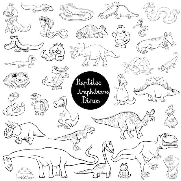 Reptilien und Amphibien setzen Farbbuch | Download der Premium Vektor