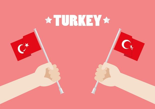 Republik-tag von der türkei mit den händen, welche die türkei-flaggen halten Premium Vektoren