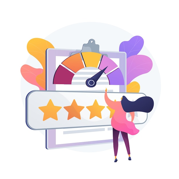 Reputationsmanagement. benutzerfeedback, kundenbindung, kundenzufriedenheitsmesser. positive bewertung, vertrauen des unternehmens, fünf-sterne-qualitätsbewertungssystem. Kostenlosen Vektoren