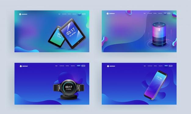 Responsive webvorlage oder zielseite mit gadgets wie smartphone, sprachassistent, tablets und smartwatch Premium Vektoren