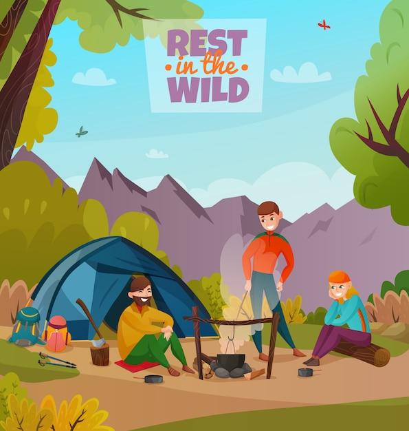 Rest halt camping zusammensetzung Kostenlosen Vektoren