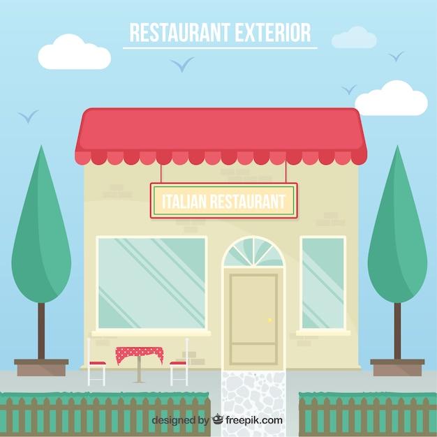 Restaurant außen illustration Kostenlosen Vektoren