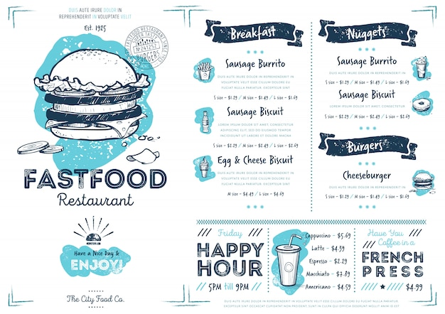 Restaurant café fast-food-menüvorlage Premium Vektoren