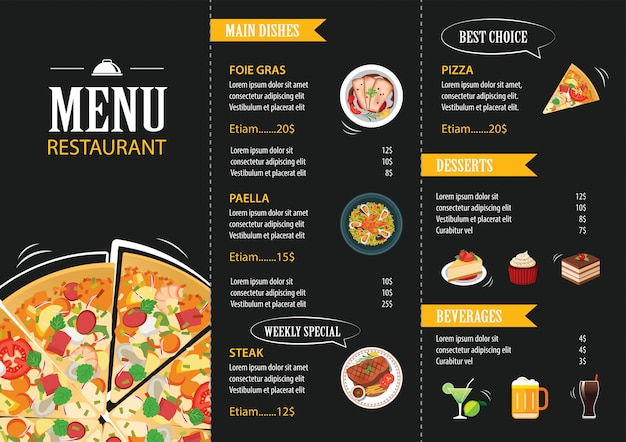 Restaurant cafe menüvorlage flaches design Premium Vektoren