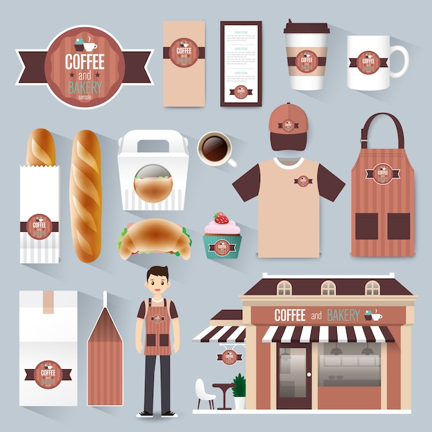 Restaurant café unternehmensidentität festgelegt Premium Vektoren