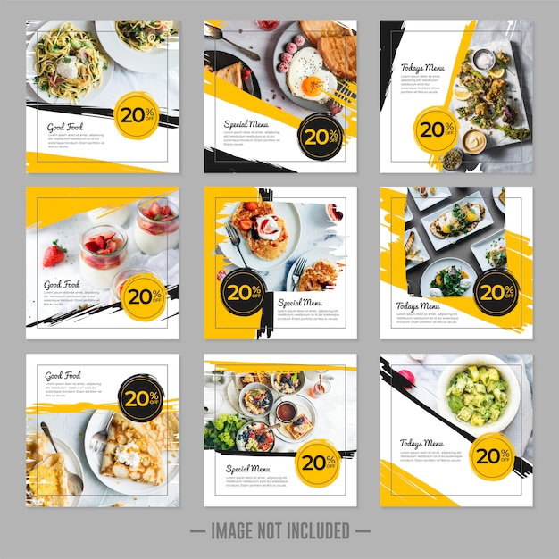 Restaurant essen social media beitragsvorlage quadrat banner festgelegt Premium Vektoren