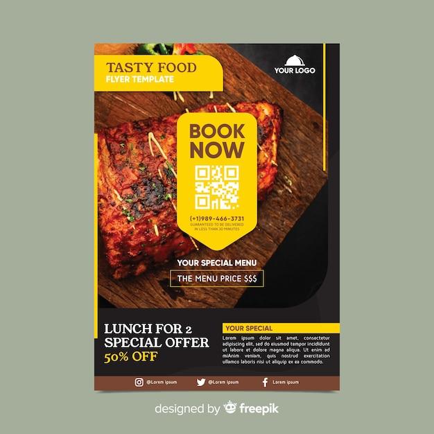 Restaurant flyer vorlage mit foto Kostenlosen Vektoren
