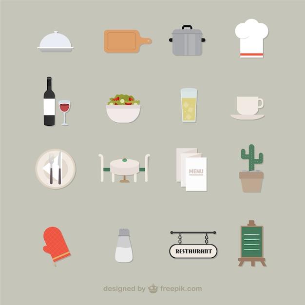 Restaurant icons Kostenlosen Vektoren