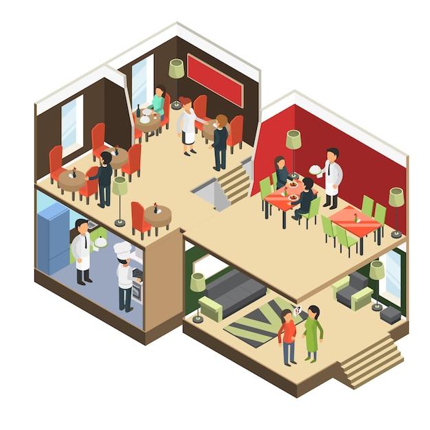 Restaurant interieur. isometrisches barcafé-buffetgebäude mit eatting bildern der gäste 3d Premium Vektoren