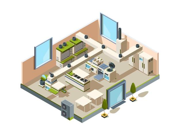 Restaurant küche. cafe interieur mit möbelausrüstung zum kochen und herstellen von lebensmitteln stahltische kühlschränke öfen isometrisch Premium Vektoren