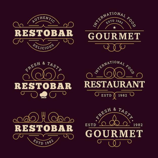 Restaurant-logo mit goldenem design Kostenlosen Vektoren